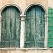 Venice Window Flower Pot Art Print