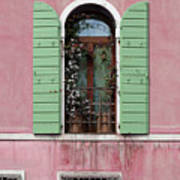 Venice Window In Pink And Green Art Print