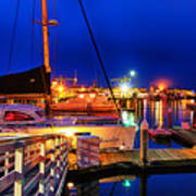 Ventura Harbor At Night Art Print