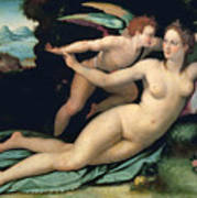 Venus And Cupid Art Print by Alessandro Allori
