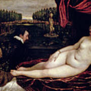 Venus And The Organist Art Print by Titian