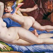 Venus, Cupid And A Satyr Art Print