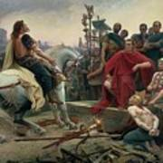 Vercingetorix throws down his arms at the feet of Julius Caesar Art Print