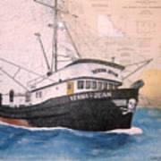 Verna Jean Fishing Boat Nautical Chart Map Art Print