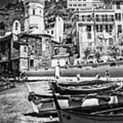 Vernazza Boats And Church Cinque Terre Italy Bw Art Print