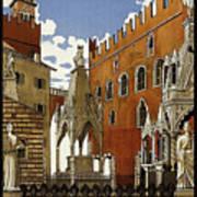 Verona, Medieval Town, Italy, Travel Poster Art Print