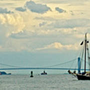 Verrazano Bridge With Schooner Art Print
