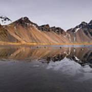 Vestrahorn Mountain In Stokksnes Iceland Art Print