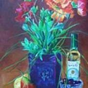 Vibrant Still Life Paintings - Poppies With Fruit And Wine - Virgilla Art Art Print