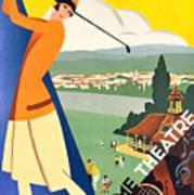 Vichy, Sport Tourism, Woman Play Golf Art Print
