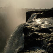Victoria Falls And Zambezi River Shot Print by Jason Edwards