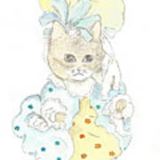 Victorian Cat In Blue And Yellow Art Print