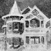 Victorian Christmas Black And White Art Print