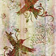 Victorian Humming Bird Pink Art Print