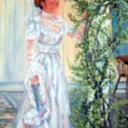 Victorian Lady on Poarch Art Print
