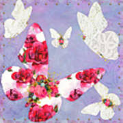 Victorian Wings, Fantasy Floral And Lace Butterflies Art Print