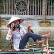 Vietnamese Lady Photographer At Tam Coc Art Print