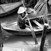 Vietnamese Woman Boat Ores Really For Tourist Mekong Delta  Art Print