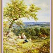 View From The Hill On The Village Below. P B With Decorative Ornate Printed Frame. Art Print