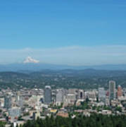 View Of Downtown Portland Oregon From Pittock Mansion Art Print