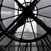 View Of Montmartre Through The Clock At Museum Orsay.paris Print by Bernard Jaubert