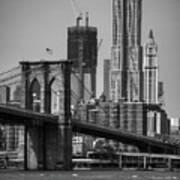 View Of One World Trade Center And Brooklyn Bridge Art Print