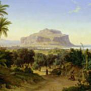 View Of Palermo With Mount Pellegrino Print by August Wilhelm Julius Ahlborn