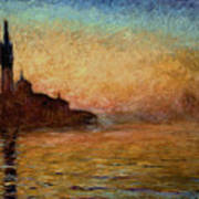 View Of San Giorgio Maggiore Venice By Twilight Print by Claude Monet
