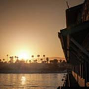 View Of Setting Sun Over Santa Barbara, Ca Art Print