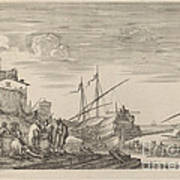 View Of Several Houses Facing The Port Art Print
