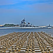 View Of The Battleship New Jersey From Philadelphia Art Print
