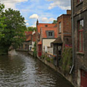 View Of The Canal From Maria Brug On Katelijnestraat In Bruges Art Print