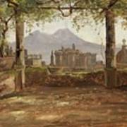 View Of The Castel Nuovo And Vesuvius From A Pergola Art Print