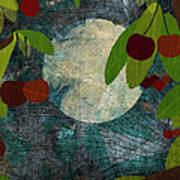 View Of The Moon And Cherries Growing On Trees At Night Art Print by Jutta Kuss