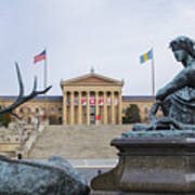 View Of The Museum Of Art In Philadelphia From The Parkway Art Print