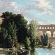 View Of The Pont Du Gard Print by Henri Marie Poinsot
