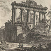 View Of The So-called Temple Of Concord With The Temple Of Saturn, On The Right The Arch Of Septimiu Art Print