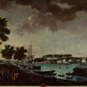 View Of The Town And Port Of Bayonne Art Print