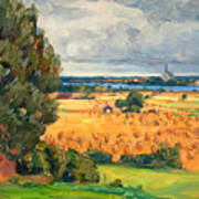 View Of Vadstena From The Surrounding Fields Art Print