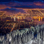 View Of Vancouver From Grouse Mountain At Sunset Art Print