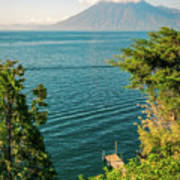 View Of Volcano San Pedro With A Crown Of Clouds In Guatemala Art Print