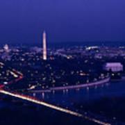 View Of Washington D.c. At Night Art Print by Kenneth Garrett