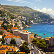 View Over Dubrovnik Coastline Art Print