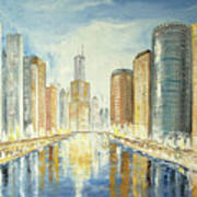 View Up The Chicago River Art Print