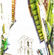 View With Bell Tower Art Print