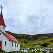 Vik Church And Cemetery - Iceland Art Print