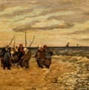Viktor Ivanovich Zarubin Russian 1866  1928 Fisherwomen In Normandie Art Print