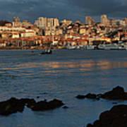 Vila Nova De Gaia In Portugal At Sunset Art Print