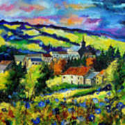 Village And Blue Poppies  Art Print