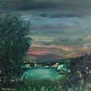 Village At Twilight Art Print